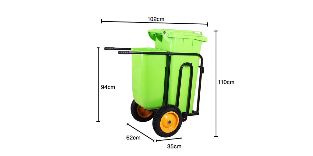 ابعاد چرخ حمل زباله